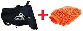 AutoStark Combo Bike Body Cover Black + Microfiber Gloves For Bajaj CT 100