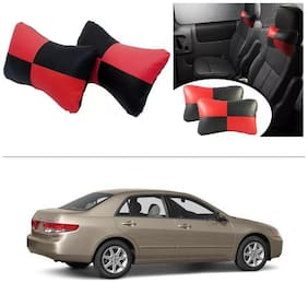 AutoStark Designer Car Seat Neck Cushion Pillow - Red and Black Colour For Honda Accord (2nd Generation)