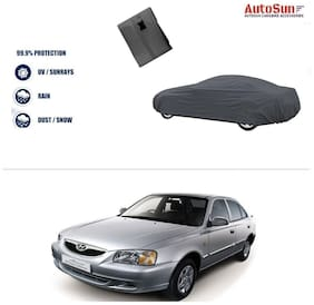 AutoSun Double Stiching Car Body Cover Grey For Hyundai Accent
