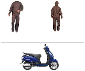 AutoStark Fully Waterproof Complete Rain Suit Brown (Medium) For Suzuki Access SE