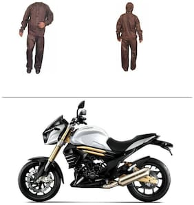 AutoStark Fully Waterproof Complete Rain Suit Brown (Medium) For Mahindra Mojo
