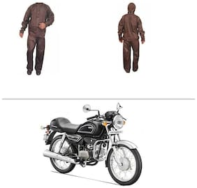AutoStark Fully Waterproof Complete Rain Suit Brown (Medium) For Hero Splendor Pro Classic