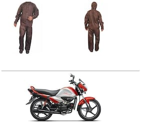 AutoStark Fully Waterproof Complete Rain Suit Brown (Medium) For Hero Splendor I Smart