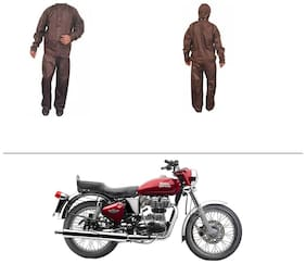 AutoStark Fully Waterproof Complete Rain Suit Brown (Medium) For Royal Enfield Twin
