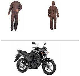 AutoStark Fully Waterproof Complete Rain Suit Brown (Medium) For Yamaha FZ16
