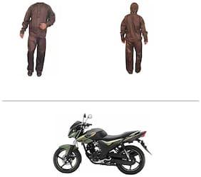 AutoStark Fully Waterproof Complete Rain Suit Brown (Medium) For Yamaha SZ-RR
