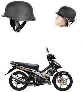 AutoStark German Retro style Matte Black Half Helmet World War Inspired Free Size..