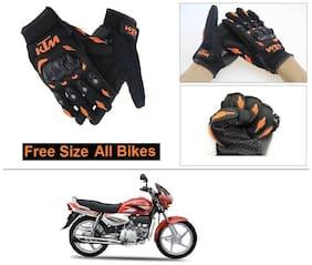 AutoStark Gloves KTM Bike Riding Gloves Orange and Black Riding Gloves Free Size For Hero Super Splendor