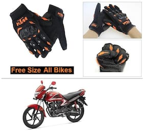 AutoStark Gloves KTM Bike Riding Gloves Orange and Black Riding Gloves Free Size For Honda Dream Yuga