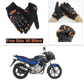 AutoStark Gloves KTM Bike Riding Gloves Orange and Black Riding Gloves Free Size For Bajaj Pulsar 150 DTS-i