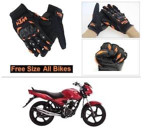 AutoStark Gloves KTM Bike Riding Gloves Orange and Black Riding Gloves Free Size For TVS Jive