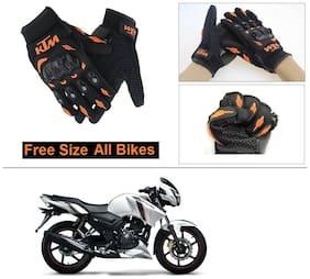 AutoStark Gloves KTM Bike Riding Gloves Orange and Black Riding Gloves Free Size For TVS Apache RTR 160