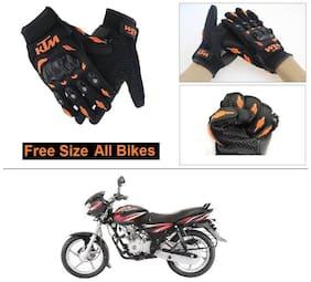 AutoStark Gloves KTM Bike Riding Gloves Orange and Black Riding Gloves Free Size For Bajaj Discover 125 DTS-i
