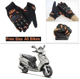 AutoStark Gloves KTM Bike Riding Gloves Orange and Black Riding Gloves Free Size For Hero Maestro