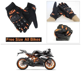 AutoStark Gloves KTM Bike Riding Gloves Orange and Black Riding Gloves Free Size For KTM RC 200