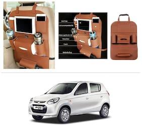 AutoStark High Quality 3D PU Leather Seat Storage Organizer Bag Beige For Maruti Suzuki Alto-800