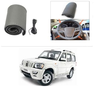 AutoStark Leatherette Car Steering Wheel Cover Grey -Mahindra Scorpio