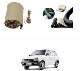 AutoStark Leatherette Car Steering Wheel Cover Beige -Maruti Suzuki-800 (Maruti Car)