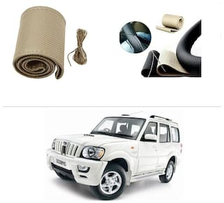 AutoStark Leatherette Car Steering Wheel Cover Beige -Mahindra Scorpio