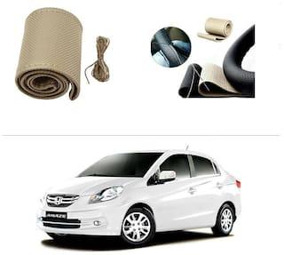 AutoStark Leatherette Car Steering Wheel Cover Beige -Honda Amaze