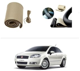 AutoStark Leatherette Car Steering Wheel Cover Beige -Fiat New Linea 2014