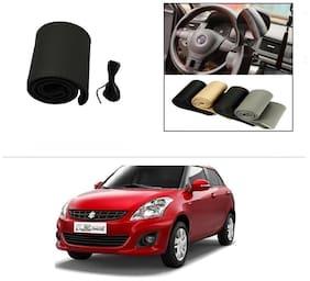 AutoStark Leatherette Car Steering Wheel Cover Black -Maruti Suzuki Swift Dzire (New)