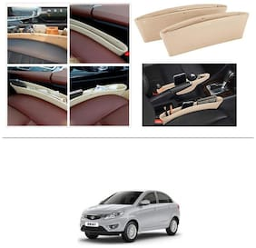 AutoStark Leather Car Seat Catch Caddy Gap Front Seat and Console PU Leather Accessory & Storage 2 pc for Tata Zest