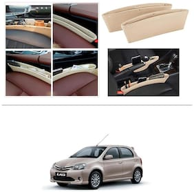 AutoStark Leather Car Seat Catch Caddy Gap Front Seat and Console PU Leather Accessory & Storage 2 pc for Toyota Etios Liva