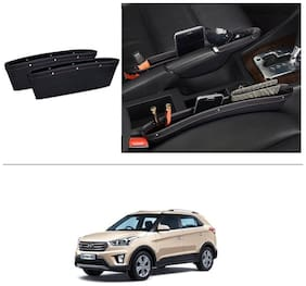 AutoStark Leather Car Seat Catch Caddy Gap Front Seat and Console PU Leather Accessory & Storage 2 pc for Hyundai Creta