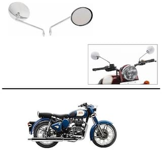 AutoStark Lucky High Quality Bike Chrome Rear View Mirrors Set of 2 For Royal Enfield Classic 350