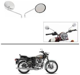 AutoStark Lucky High Quality Bike Chrome Rear View Mirrors Set of 2 For Royal Enfield Twin spark