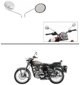 AutoStark Lucky High Quality Bike Chrome Rear View Mirrors Set of 2 For Royal Enfield 500
