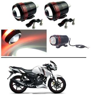 AutoStark Motorcycle Bike Car U3 LED Fog Spot Light Driving HeadLights Red Angle Eye Set of 2 For TVS Apache RTR 160