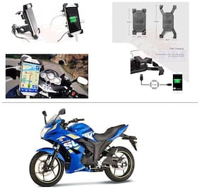 AutoStark Motorcycle Rotating Cell Phone Stand Mount Holder USB Charger For Suzuki Gixxer SF