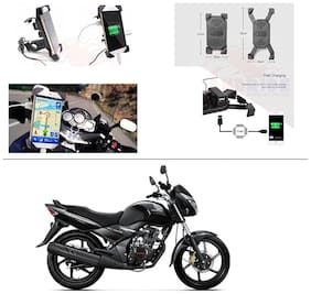 AutoStark Motorcycle Rotating Cell Phone Stand Mount Holder USB Charger For Honda CB Unicorn