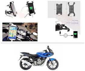 AutoStark Motorcycle Rotating Cell Phone Stand Mount Holder USB Charger For Bajaj Pulsar 220 DTS-i