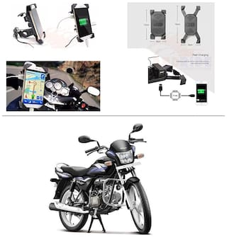 AutoStark Motorcycle Rotating Cell Phone Stand Mount Holder USB Charger For Hero Splendor Pro