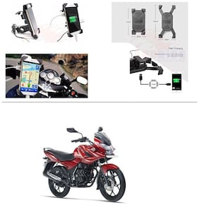 AutoStark Motorcycle Rotating Cell Phone Stand Mount Holder USB Charger For Bajaj Discover 150 f