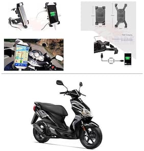 AutoStark Motorcycle Rotating Cell Phone Stand Mount Holder USB Charger For Yamaha Jog R