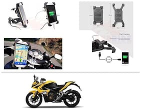 AutoStark Motorcycle Rotating Cell Phone Stand Mount Holder USB Charger For Bajaj Pulsar RS 200