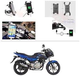 AutoStark Motorcycle Rotating Cell Phone Stand Mount Holder USB Charger For Bajaj Pulsar