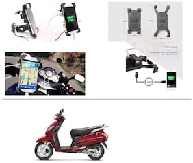 AutoStark Motorcycle Rotating Cell Phone Stand Mount Holder USB Charger For Honda Activa 125