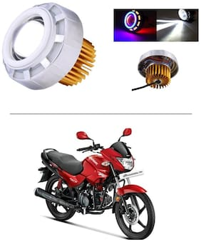 AutoStark Projector Lamp Led headlight Lens projector ( High beam, Low Beam, Flasher function Blue ,Red and White For - Hero Glamour FI
