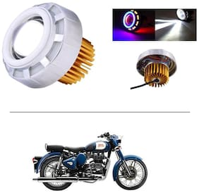 AutoStark Projector Lamp Led headlight Lens projector ( High beam, Low Beam, Flasher function Blue ,Red and White For - Royal Enfield Classic 350