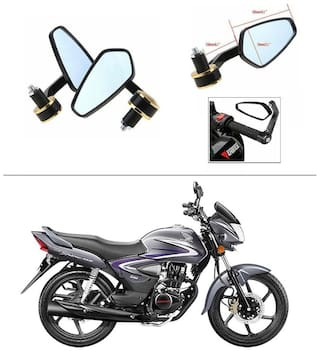 AutoStark Stealth Style Rear View Mirror Gold Line For Hero Glamour