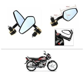 AutoStark Stealth Style Rear View Mirror Gold Line For Hero HF Deluxe