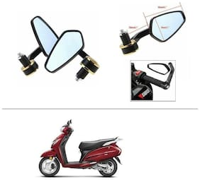 AutoStark Stealth Style Rear View Mirror Gold Line For Honda Activa 125