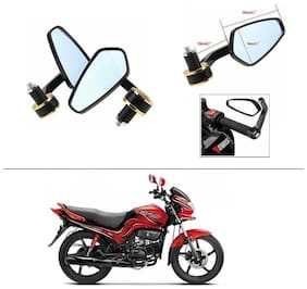 AutoStark Stealth Style Rear View Mirror Gold Line For Hero Passion Xpro