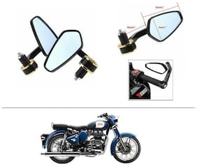 AutoStark Stealth Style Rear View Mirror Gold Line For Royal Enfield Classic 350