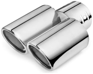 AutoSun A95 Round Twin Pipe Car Exhaust Silencer Tip Chrome For Tata Zest
